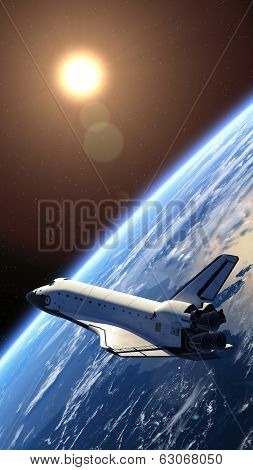 Space Shuttle in Space. 3D Scene. Elements of this image furnished by NASA. poster