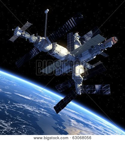 Space Station. View From Space.