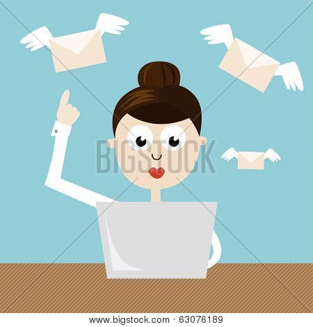 Woman - Manager Sending Emails