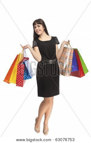 Shopping Concept: Happy Smiling Cacuasian Woman With Shopping Bags