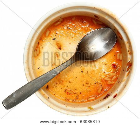 Empty Dirty Bowl of Cajun Creole Gumbo Soup Isolated