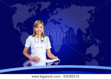 Smiling Anchorwoman At Tv Studio