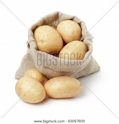 Fresh Young Potato In Sack Bag