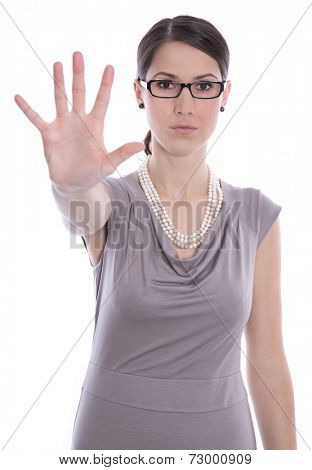 Isolated business woman says stop - concept for bullying. poster