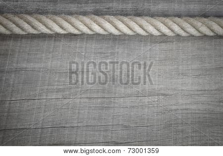 Vintage wooden background with rope