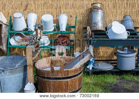 Traditional Dutch Farmer Utensils With A Washtub