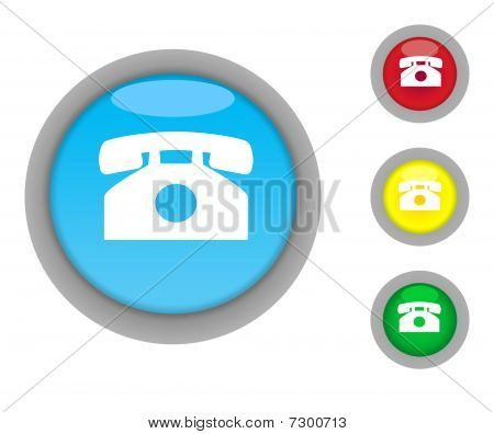 Retro Telephone Button Icons