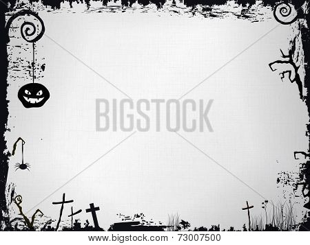 Grunge frame with textured background and various Halloween paraphernalia as: scary pumpkin, crosses, and scary tree branches in black and white.  Vector available.