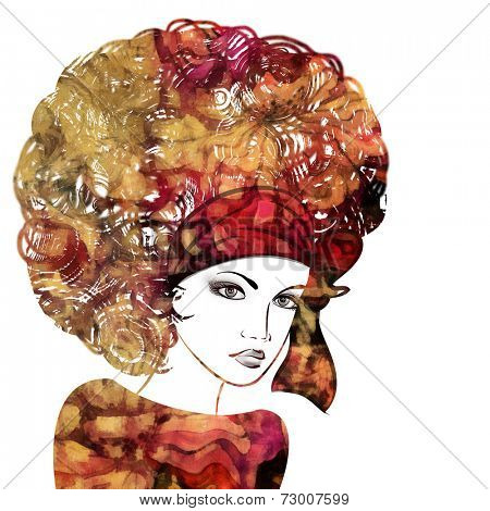 art sketched beautiful girl face with curly hairs and silk scarf in colorful graphic isolated on white background
