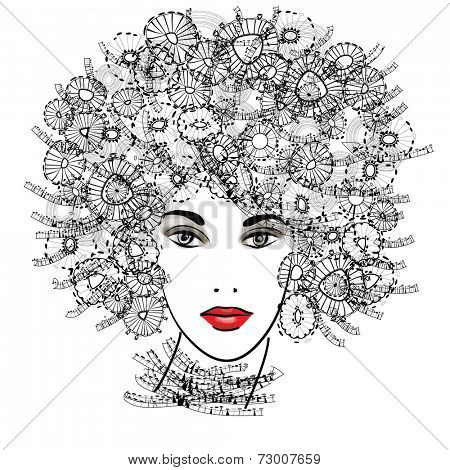 art sketched beautiful girl face with curly hairs  in black graphic isolated on white background