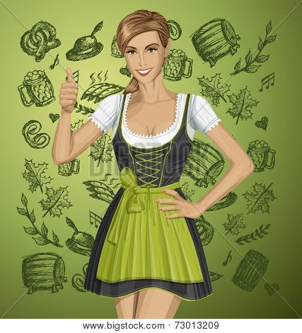 cute woman in drindl on oktoberfest shows well done