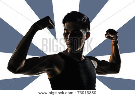 Silhouette of young man show his biceps brachii, closeup portrait.