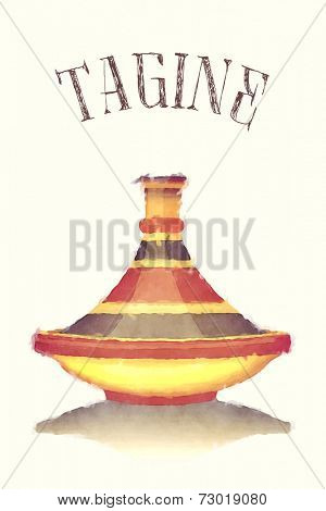 Watercolour illustration of a colourful striped tagine, isolated over pastel background. EPS10 vector format.