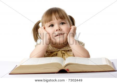 Happy Little Girl With Book, Back To School