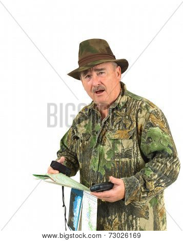 Hunter with look of shock on his face after studying maps and holding a GPS to determine his whereabouts
