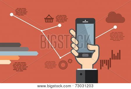 Mobile application development or smartphone app programming - flat design
