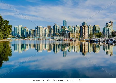 Vancouver skyline with harbor, British Columbia, Canada