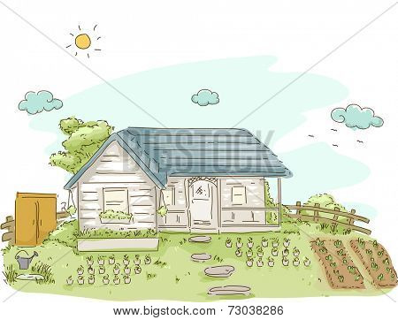 Illustration Featuring a House With a Vegetable Garden