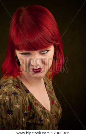 Punky Girl With Red Hair