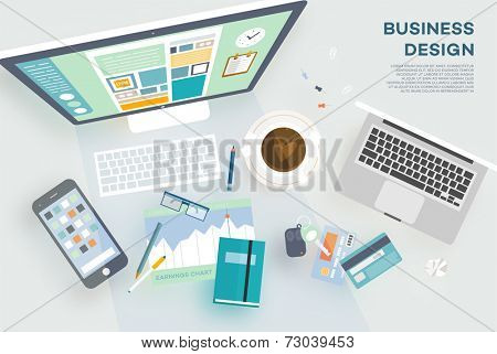 Flat Style Modern Design Concept of Creative Office Workspace. Icons Collection of Business Work Flow Items and Elements, Office Things, Objects and Equipment for Workplace Design. Vector Illustration poster