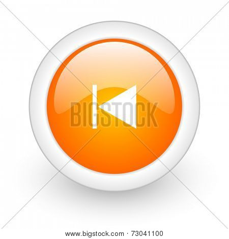 prev orange glossy web icon on white background