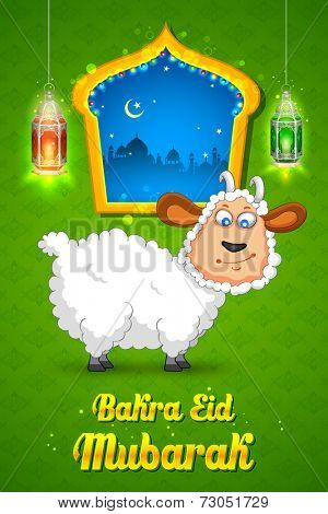 illustration of sheep wishing Bakra Id mubarak