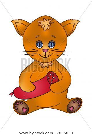 The toy happy cat holds sausage in paws poster