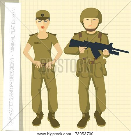 Military man and lady in flat modern style. Vector illustration.