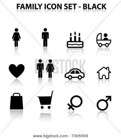 Reflejar el conjunto de iconos familiares (negro)