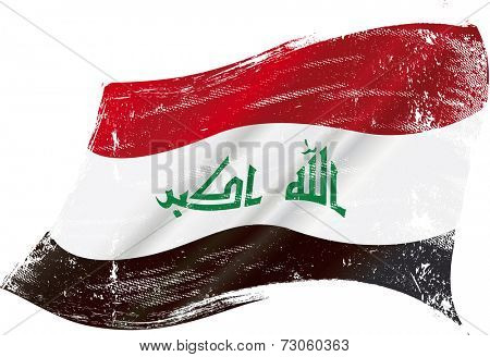 Iraqi grunge flag. flag of  Iraq in the wind with a texture