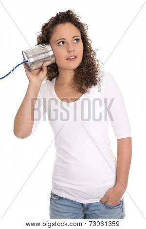 Isolated serious woman listening on tin can for news or changes.