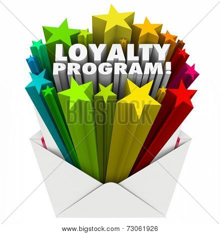 Loyalty Program 3d words in colorful stars shooting out of an envelope mailer inviting you to participate in a reward points promotion