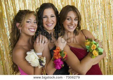 Well-dressed teenager girls at school dance portrait