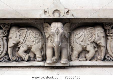 KOLKATA, INDIA - FEB 15: Stone carvings in Birla Mandir (Hindu Temple) in Kolkata, West Bengal in India as seen on Feb 15, 2014. It is one of the largest Hindu temples in Kolkata.