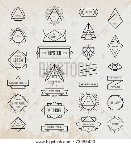Set of Vintage Hipster Labels. Retro Borders Collection. Old Paper Texture Background. Sunburst and Light Ray Vector Elements. Graphic Eye, Arrows, Ribbons, Borders, Flowers and Frames.