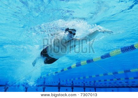 Man Swimming in Pool (low angle underwater shot)