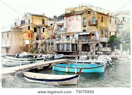 Erbalunga - small  old fishing village in Corsica, artwork in pa