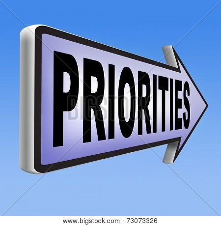 priorities important very high urgency info highest importance crucial information top priority dont forget road sign arrow