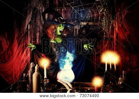Fairy wicked witch in the wizarding lair. Magic. Halloween.