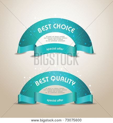 vector banners set Quality  Ribbons, Labels, Tags. Retro vintage style