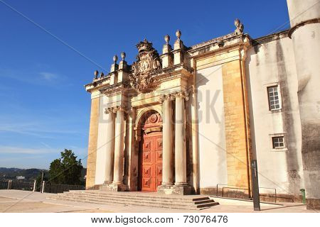 Entrance of Joanina library in Coimbra University, Portugal