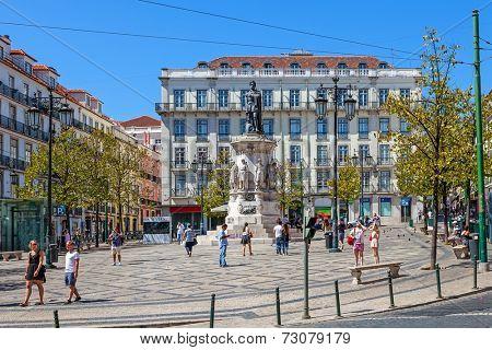 Lisbon, Portugal. August 31, 2014: Luis de Camoes Square near the Chiado and Bairro Alto Districts