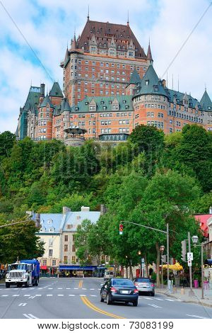 Chateau Frontenac in the day with cloud and blue sky in Quebec City with street