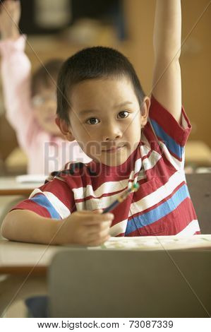 Young boy raising hand in classroom