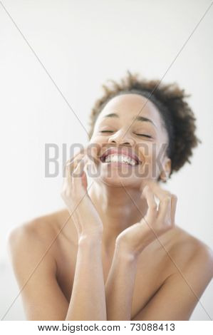 Portrait of exuberant young woman