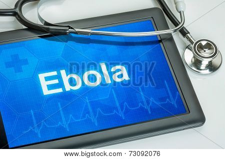 Tablet with the text Ebola on the display