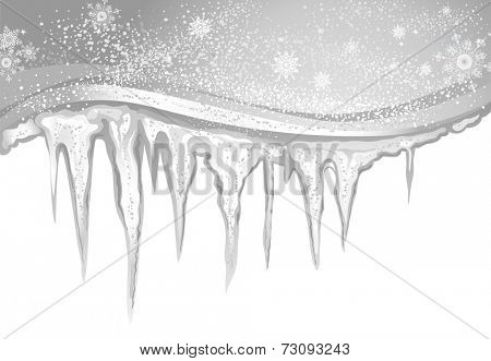 Winter background with gray icicles