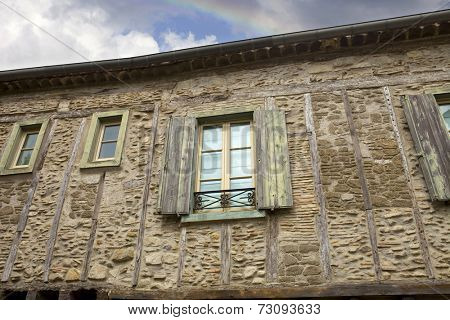 The ancient houses inside the fortification of Carcassone in southern France