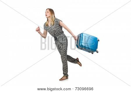 Woman being late for her flight