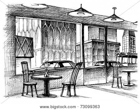 Restaurant interior vector sketch, city street view